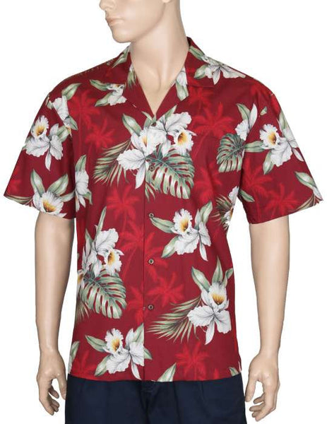 Hawaiian Shirt Orchids Makani (red)