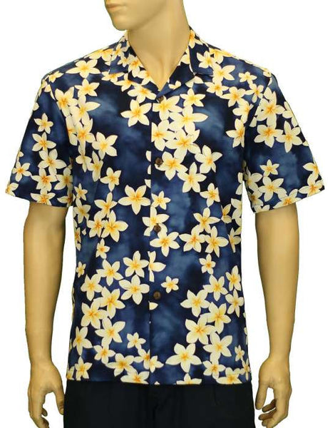 Hawaiian Shirt Tropical Island Plumeria (blue)