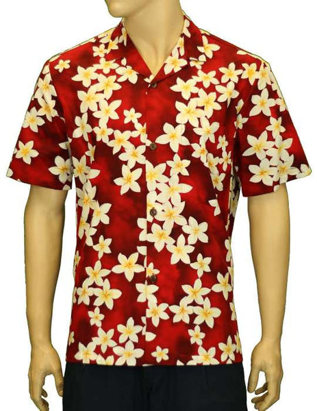Hawaiian Shirt Tropical Island Plumeria (red)