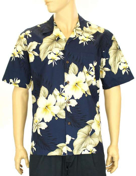 Hawaiian Shirt Hibiscus Trend (navy)