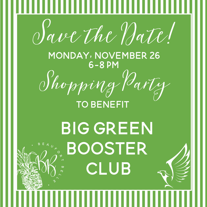Save the Date!  Shopping Party:  Giving Back to the Big Green Booster Club