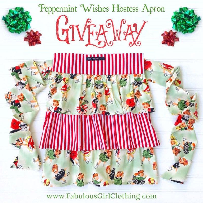 Peppermint Wishes Hostess Apron Giveaway-Fabulous Girl Clothing