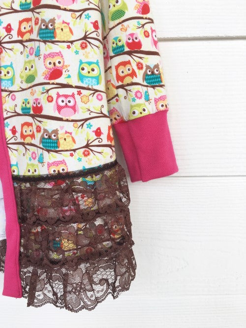 Owl Party Cardigan - Chocolate Lace