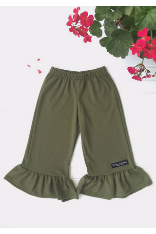 Big Ruffle Pants in Olive Knit