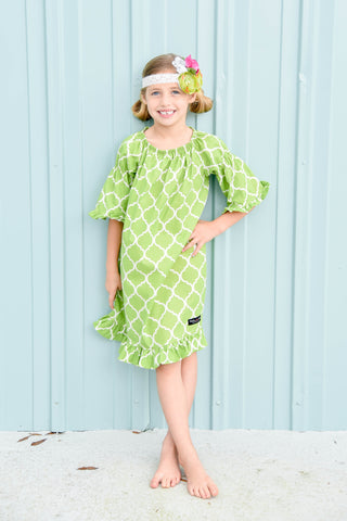 Blakely Bell Sleeve Peasant Dress - Lime Quatrefoil