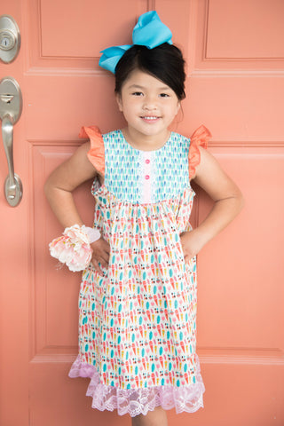 Farm Girl Dress - Colorful Carrots