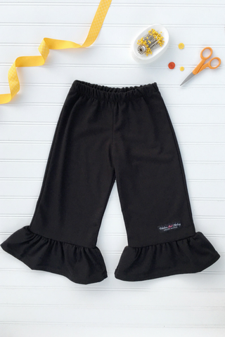 Big Ruffle Pants in Black Knit