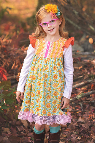 Farm Girl Dress - Yellow Roses