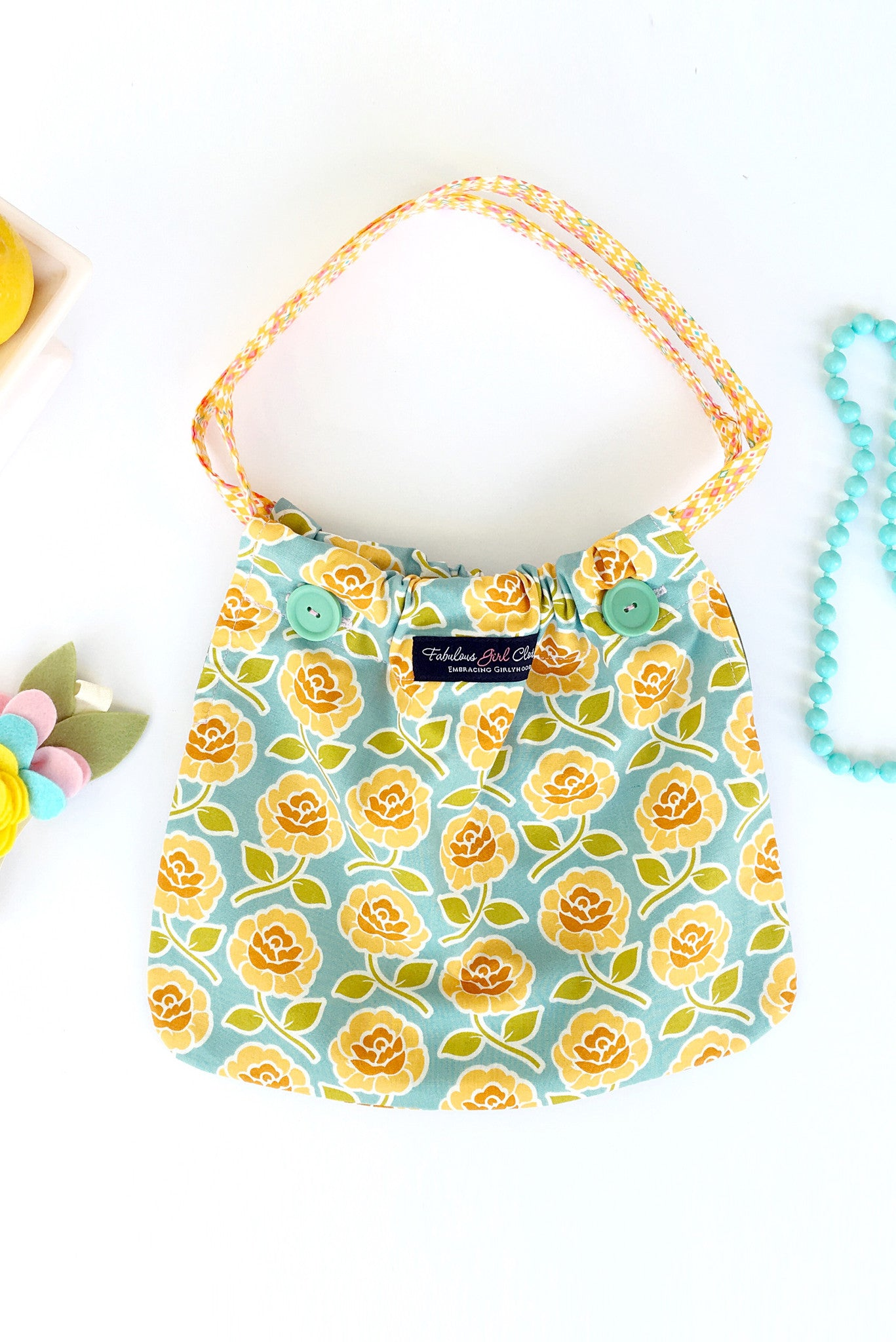 Reversible Pocketbook - Yellow Roses