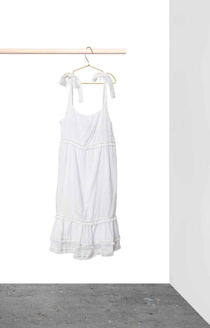 Clare Dress - White with white trim