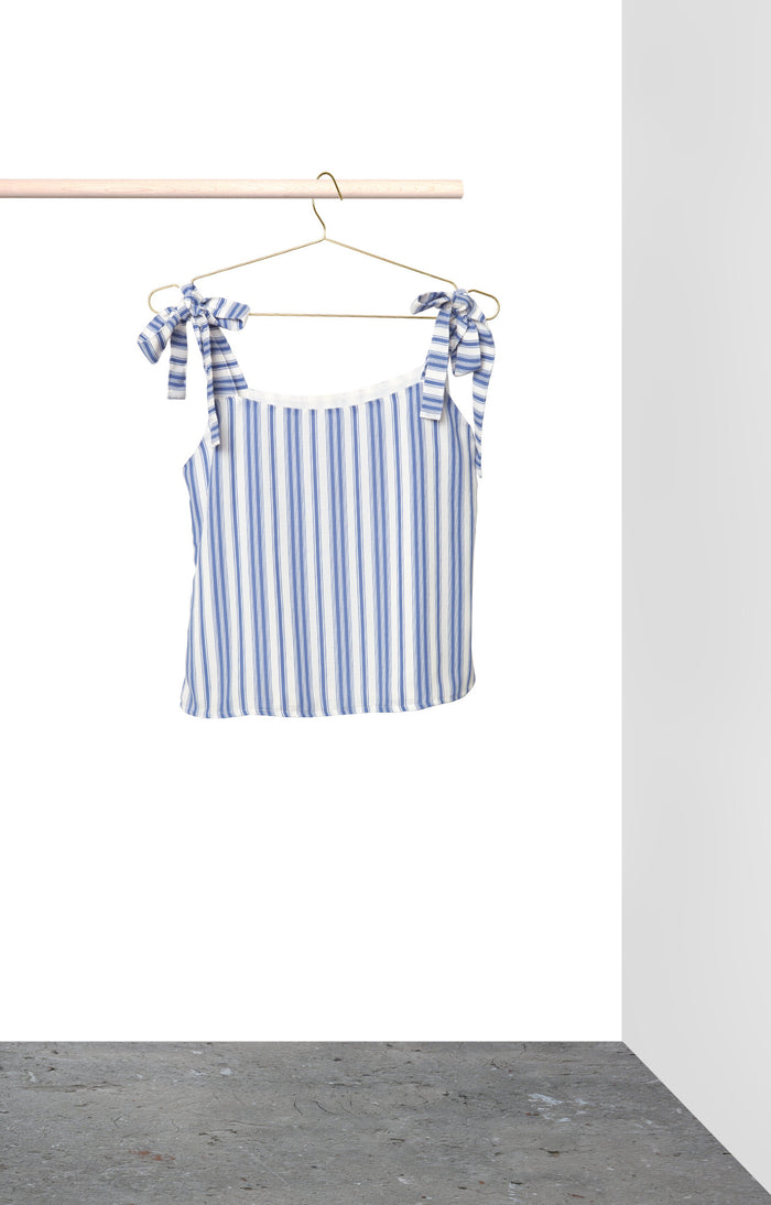 Clare Top - Blue and white stripe