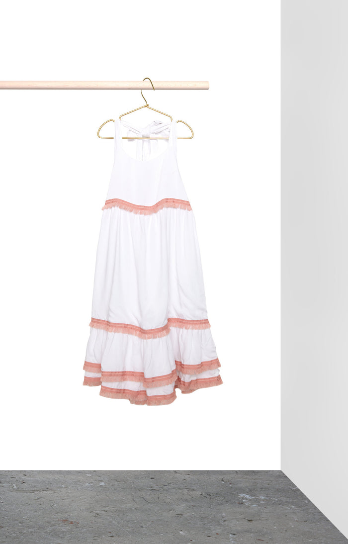 Clare Dress - White with blush pink trim