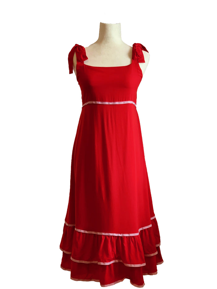 Clare Dress - Red with Red and White Stripe Trim