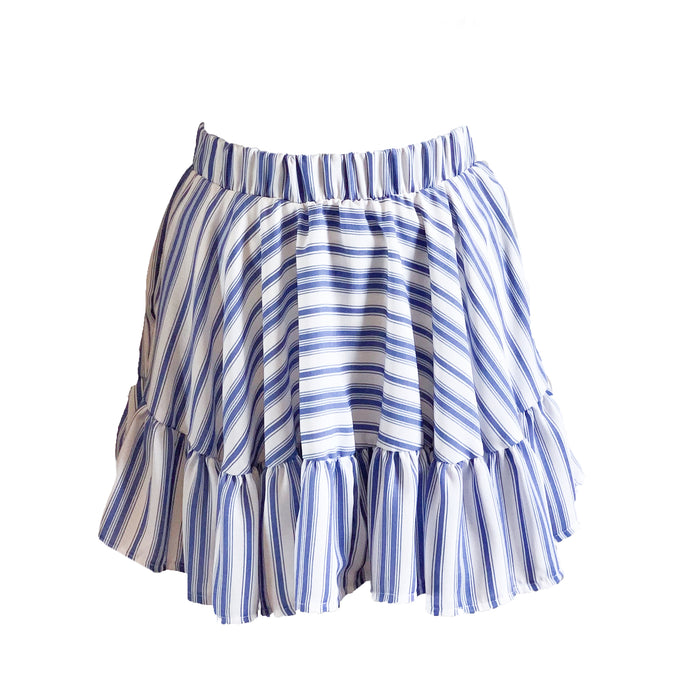 Clare Skirt - Blue and White Stripe
