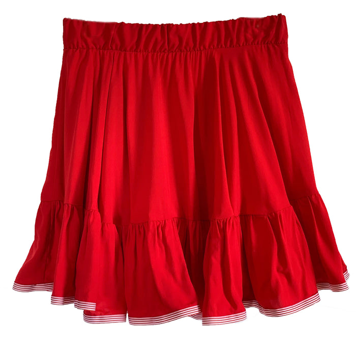 Clare Skirt - Red with Red and White Stripe Trim