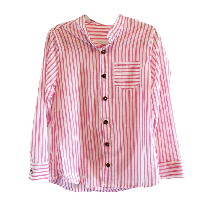 Jay Long Sleeve Shirt- Pink Stripe