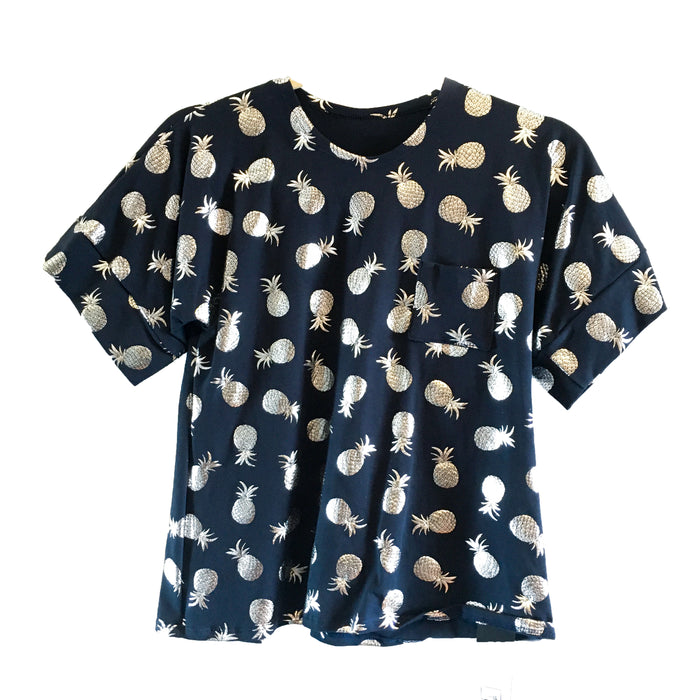 Taylor T-Shirt - Navy with Silver Pineapple Print