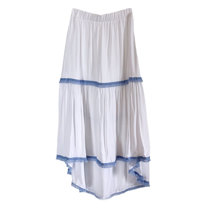 Sophia Skirt - White with Blue Trim