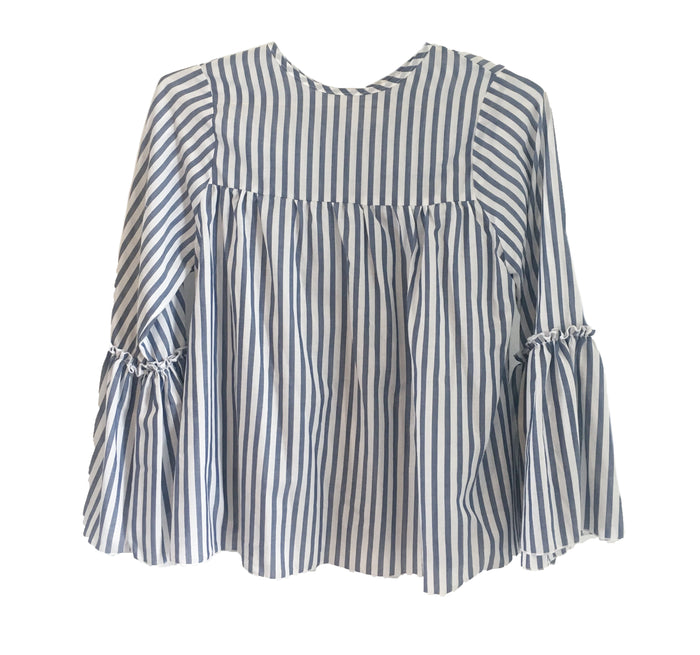 Chloe Top -  Blue and White Stripe