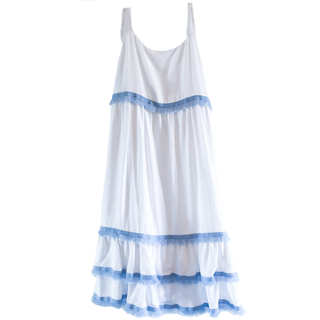 Clare Dress - White with blue trim