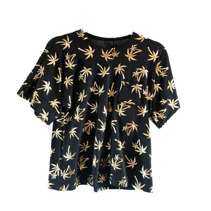 Taylor T-Shirt - Black with Gold Palm Tree Print