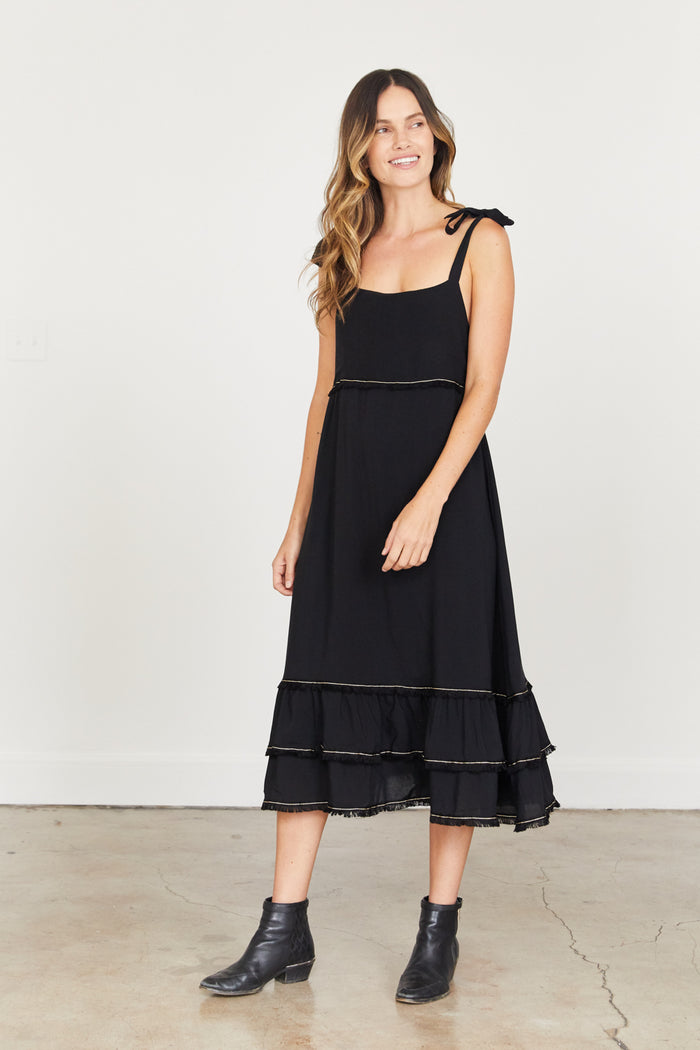 Clare Dress - Black with Black trim