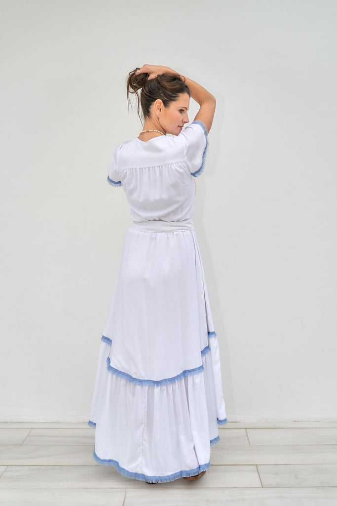 Sophia Dress - White with blue trim