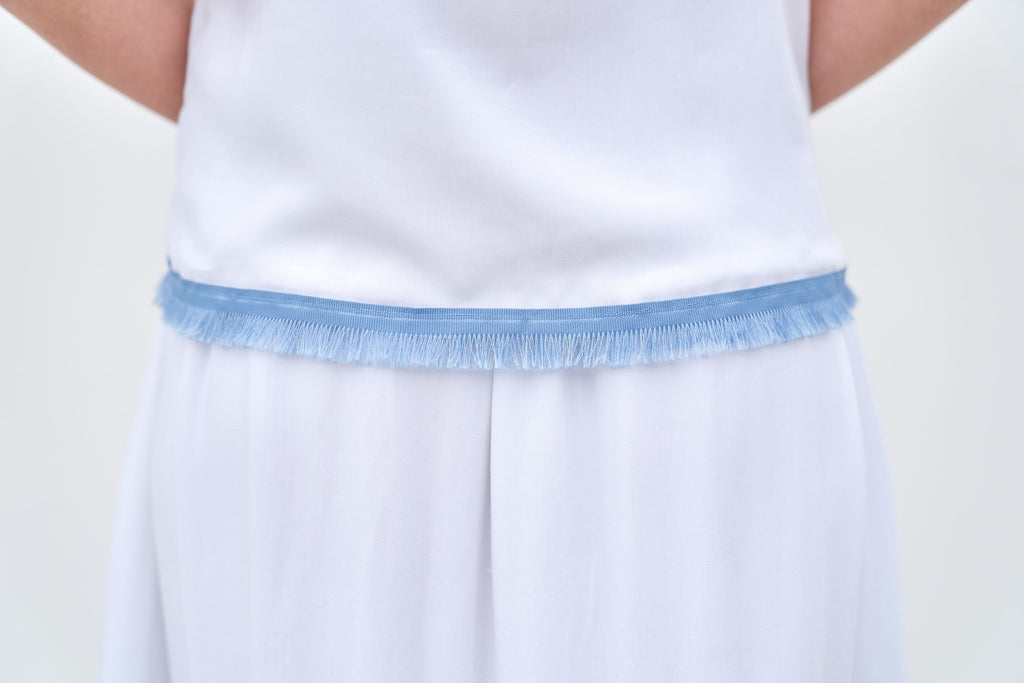 Clare Top - White with Blue Trim