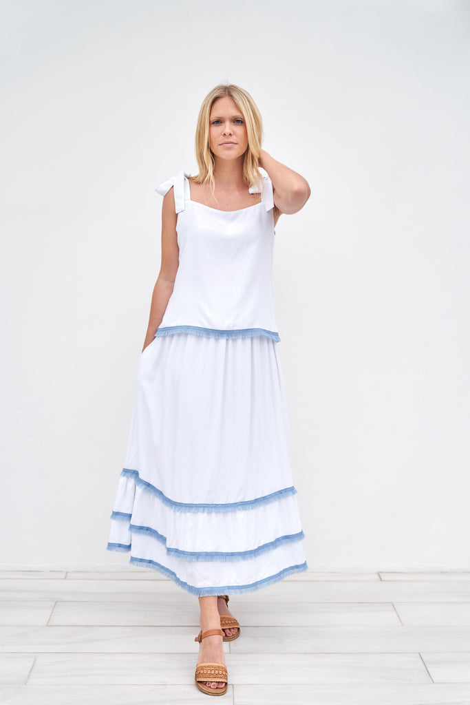 Clare Skirt - Long - Blue and white stripe