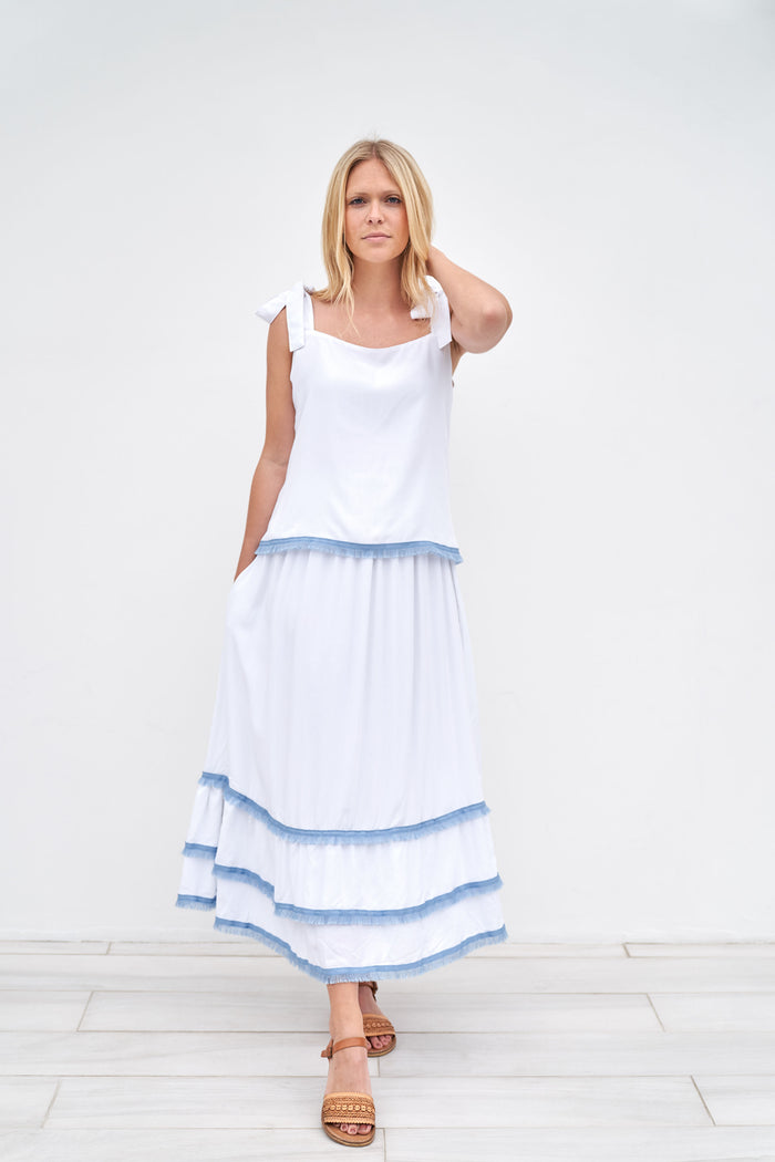 Clare Skirt - Long - White with Blue Trim