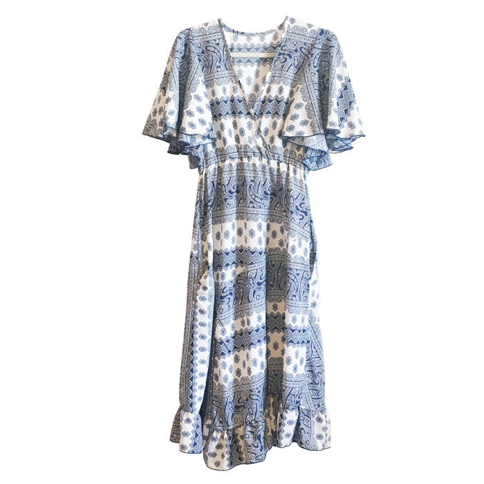 Vida Dress - Blue and White Pattern