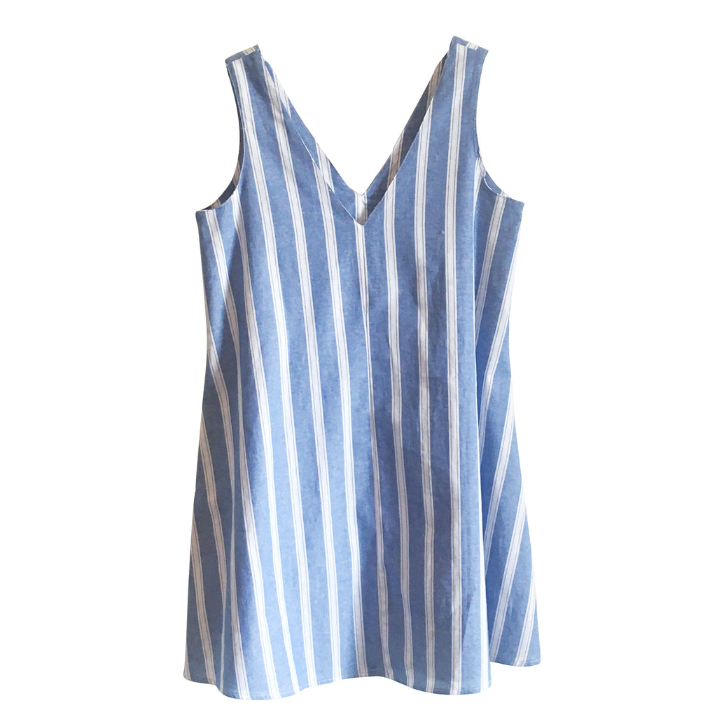 Ana Dress - Ocean Blue and White Stripe