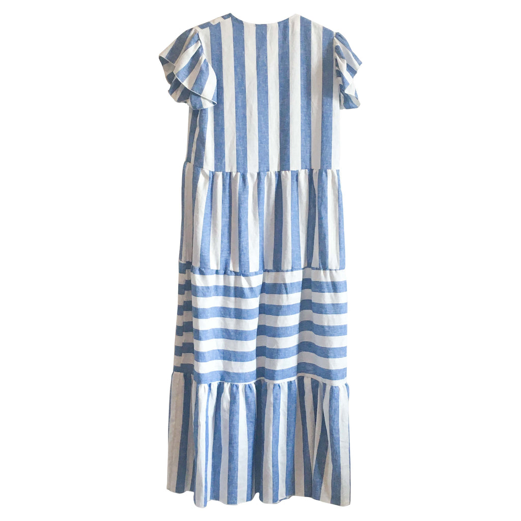 Isabella Dress - Ocean Blue and White Stripe