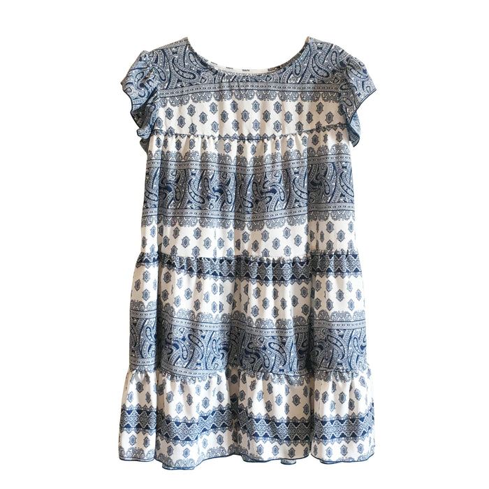 Katie Dress - Blue and White Pattern