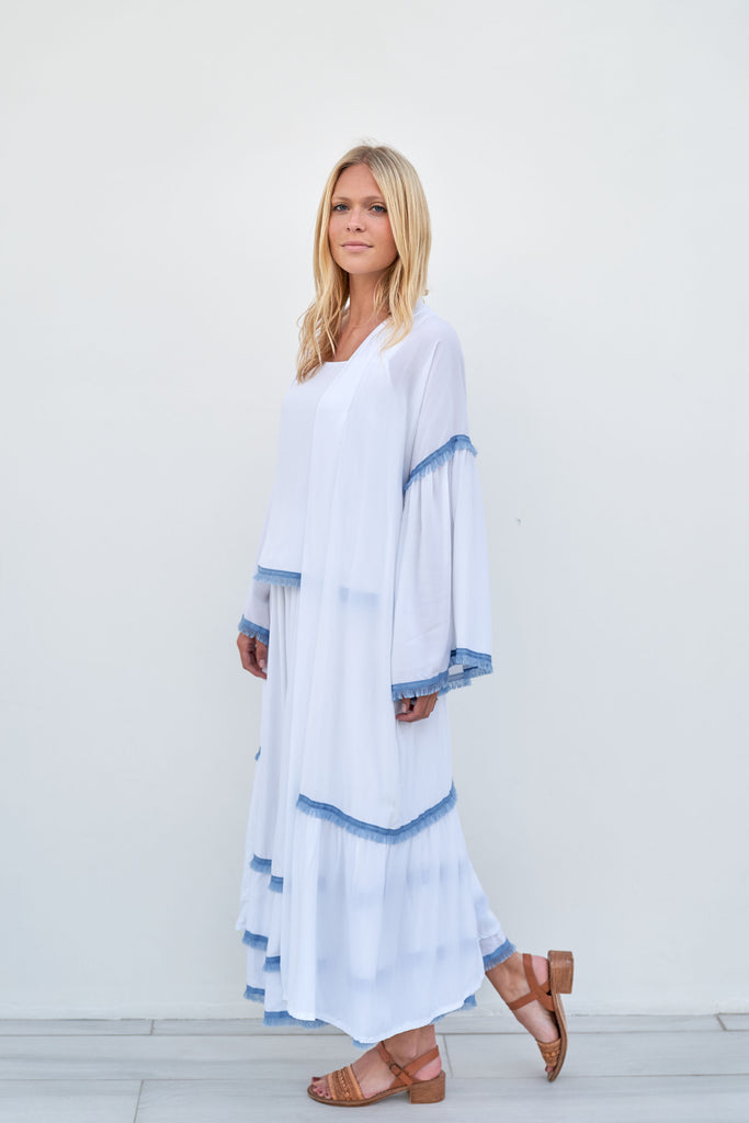 Bridget Kimono - White with Blue Trim