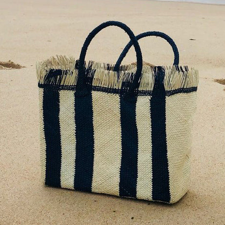 Talk to the Palm Striped Tote - Black  (Pre-Order)