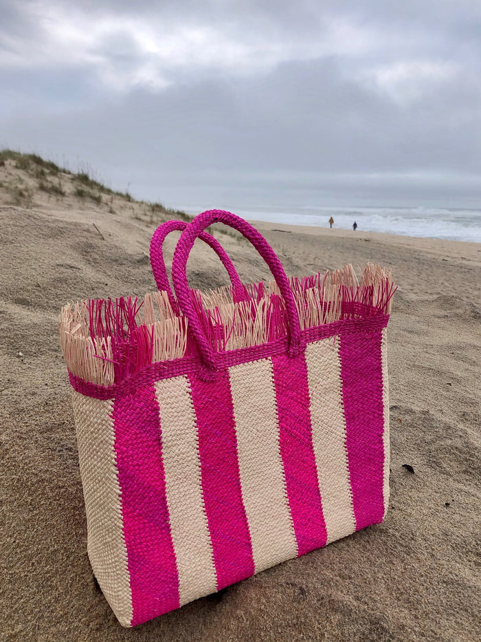 Talk to the Palm Striped Tote - Hot Pink