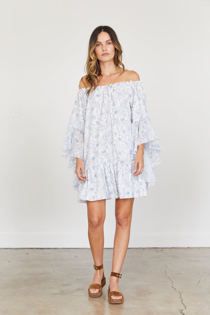 Gianna Dress - White with light blue romantic print