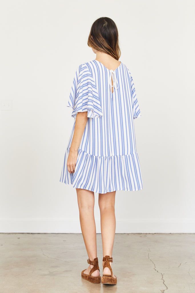 Gabrielle Dress - Blue and White Stripe
