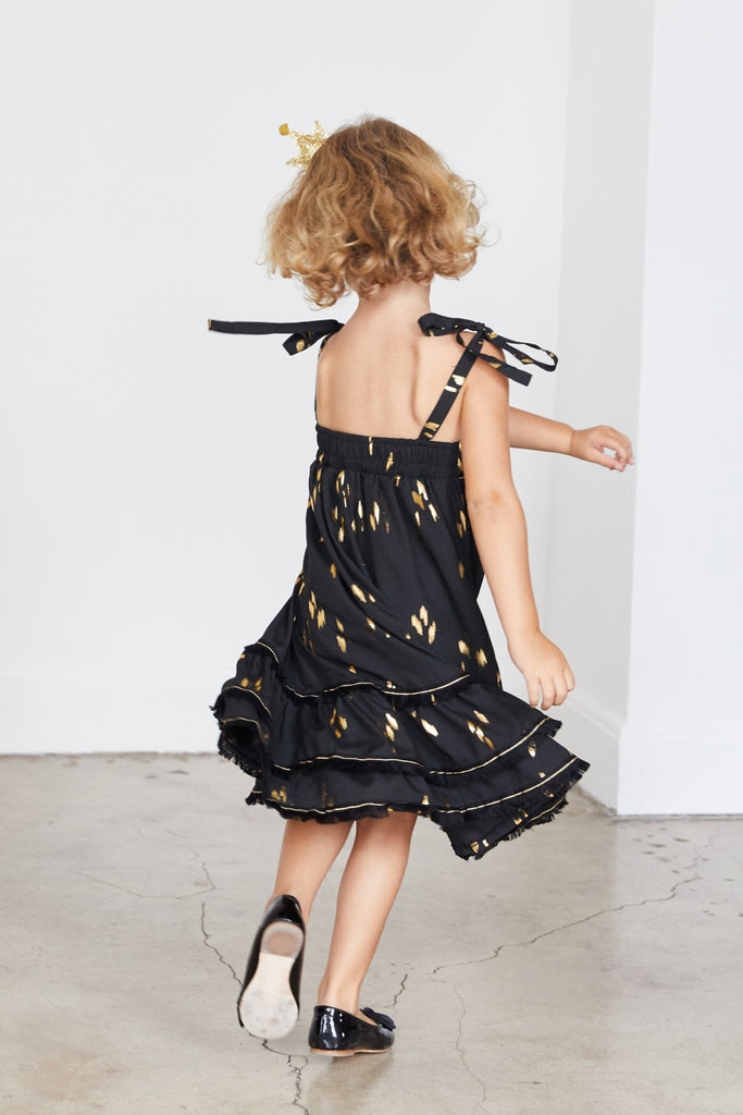 Clare Dress -Black & Gold