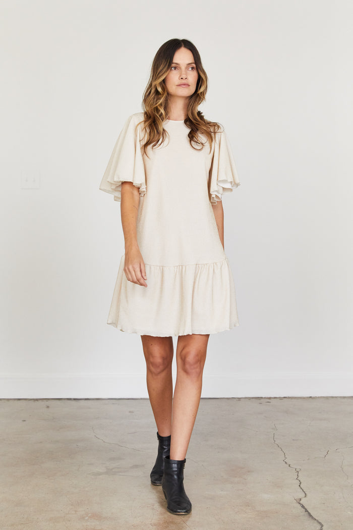 Gabrielle Dress - Off White with Gold Flecks