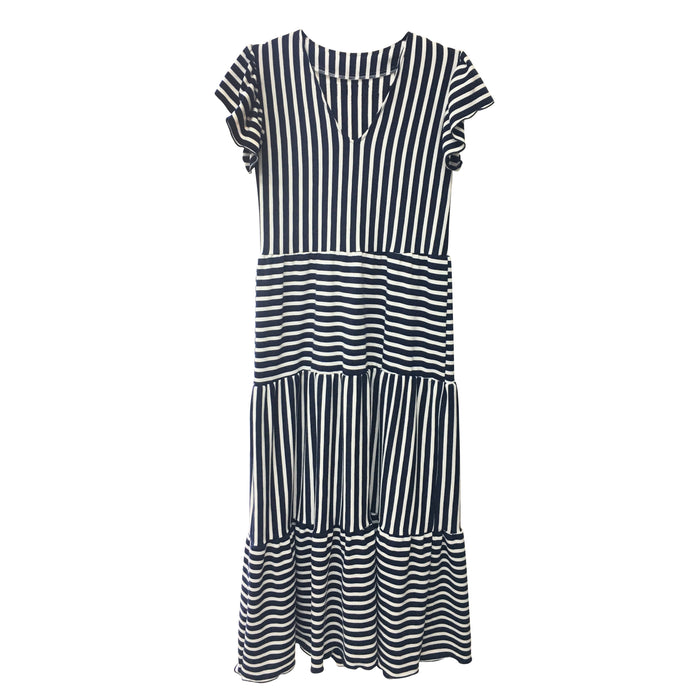 Isabella Dress - Blue and White Stripe