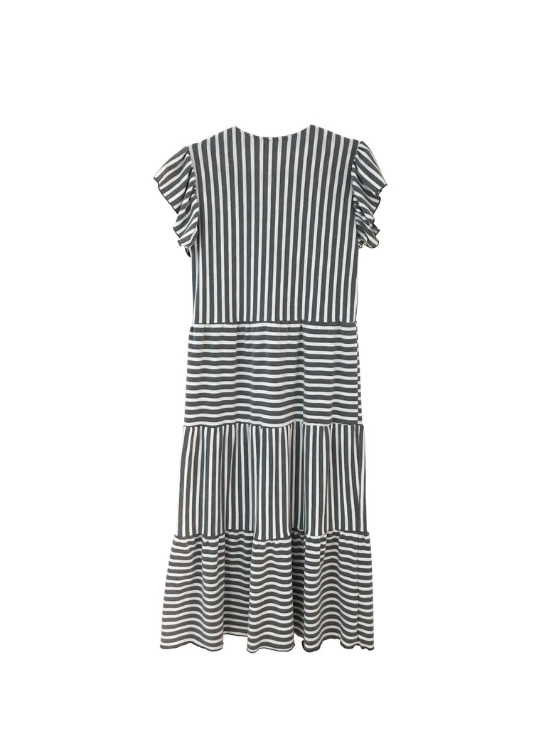 Isabella Dress - Grey and White Stripe