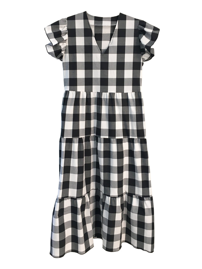 Isabella Dress - Black and White Gingham