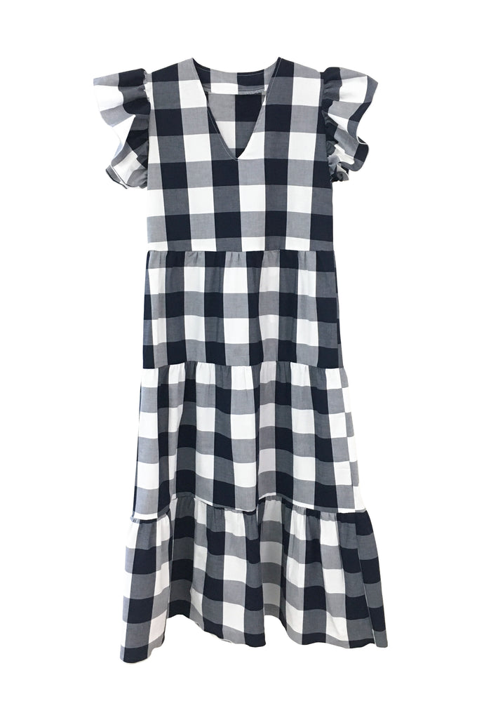 Isabella Dress - Navy and White Gingham