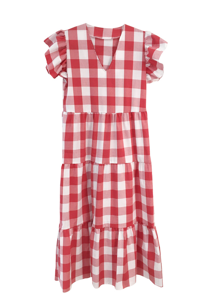 Isabella Dress - Red and White Gingham