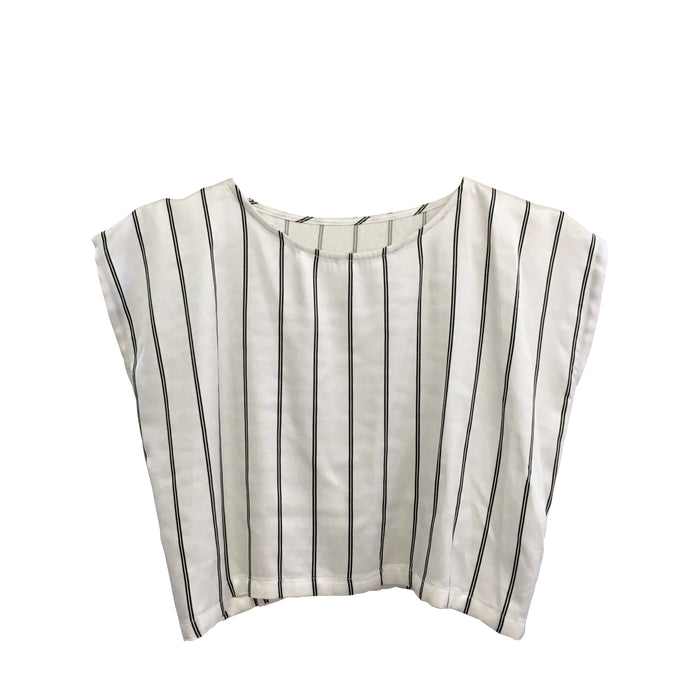 Mia Top - White with Black Stripes
