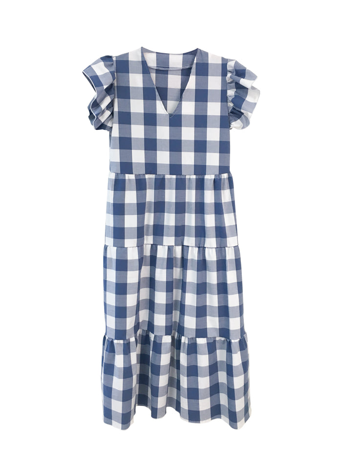 Isabella Dress - Bleu de France Gingham