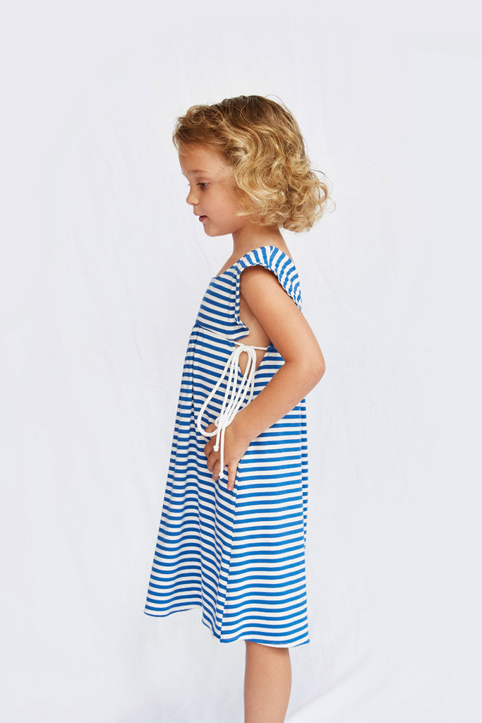 Brenda Dress - Royal Blue Stripe