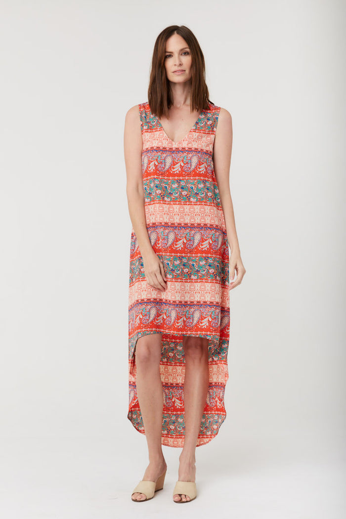 Maren V Dress - Vermillion Red Print